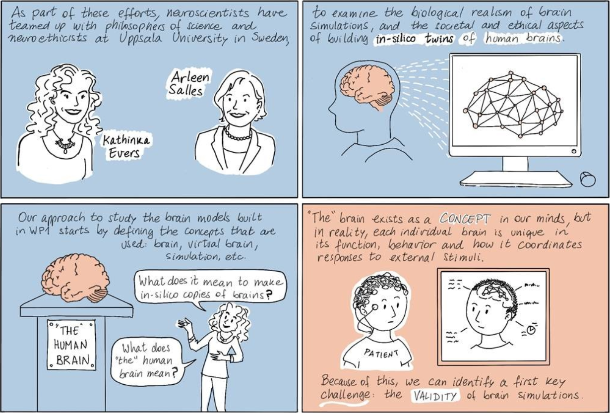 Comic by Constanza Rojas Molina on the philosophy of science and brain modeling